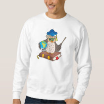 Owl teacher with globe sweatshirt