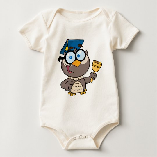 Owl Teacher With Graduate Cap And Bell Baby Bodysuit
