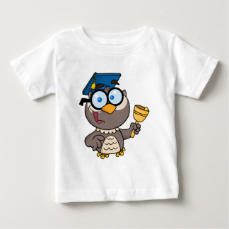 Owl Teacher With Graduate Cap And Bell Baby T-Shirt