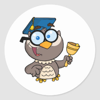 Owl Teacher With Graduate Cap And Bell Classic Round Sticker