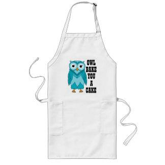 Owl Teal Long Apron