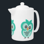 """Owl Teapot<br><div class=""""desc"""">Mint Owl Teapot. This fun Owl design makes a perfect gift for any Owl lover.  Customizable with any text of your choice. Design © www.justbyjulie.com</div>"""
