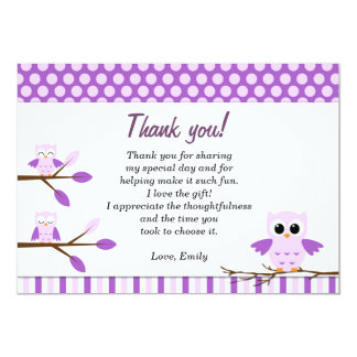 Owl Thank You Card Note Purple