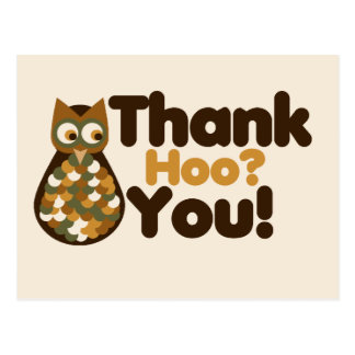Owl Thank You Hoo Postcard