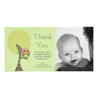 Owl Thank You New Baby Arrival Gift Photocard Photo Card