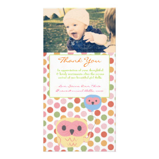 Owl Thank You Note Baby Girl Photo Template