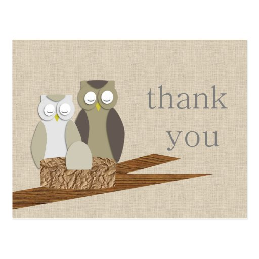 Owl Thank You Post Card