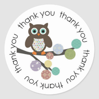 Owl thank you stickers / labels