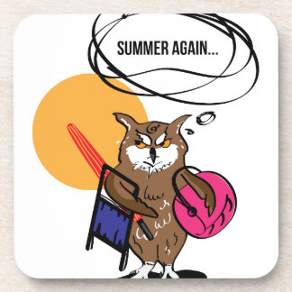 Owl that hates summer T shirt Coaster
