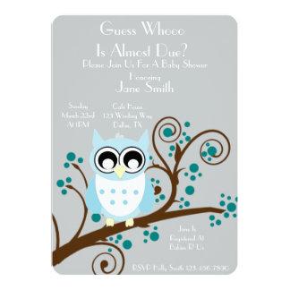 "Owl Theme Baby Shower 5"" X 7"" Invitation Card"