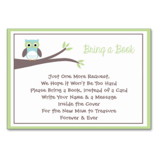 Owl Themed Baby Shower Card- Bring a Book Card