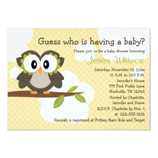 Owl Themed Baby Shower Invites Invitations Yellow