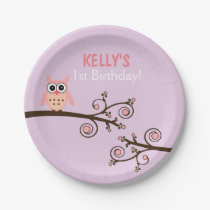 Owl Themed Birthday Paper Plates
