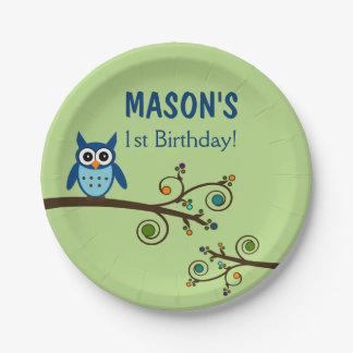 Owl Themed Birthday Paper Plates