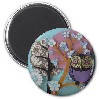 owl tree flowers magnet