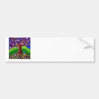 Owl Tree Fun Folk Art Label Bumper Sticker