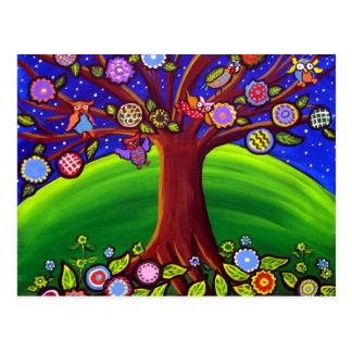 Owl Tree Fun Folk Postcard