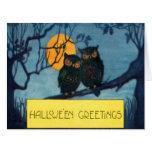 Owl Tree Night Full Moon Halloween Card