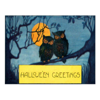 Owl Tree Night Full Moon Halloween Postcard