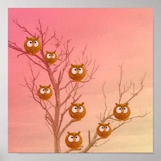 Owl Tree Print on Canvas