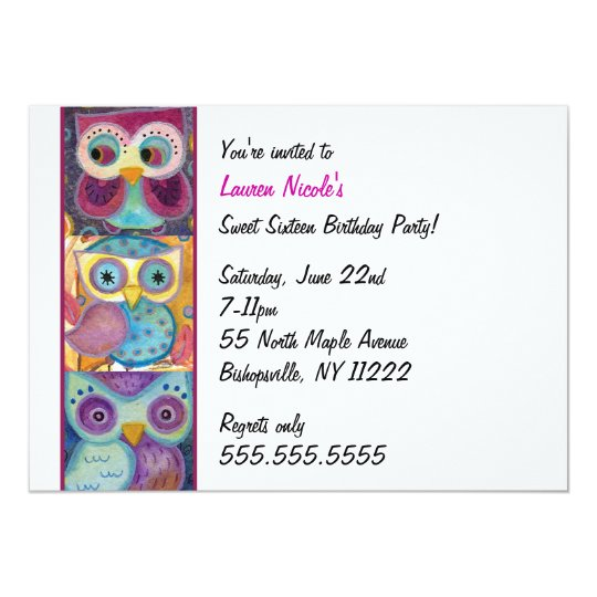 Owl Trio All occasion invitation