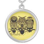 Owl Trio Round Necklace