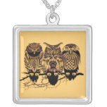 Owl Trio Square Necklace