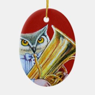 Owl Tuba Player Ornament