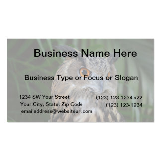 owl turning to the right head view bird business card