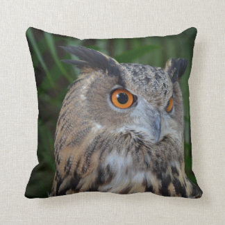 owl turning to the right head view bird throw pillow