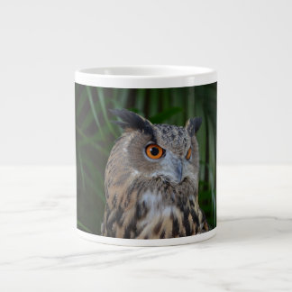 owl turning to the right head view large coffee mug