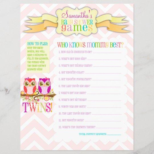 Owl Twin Girls Baby Shower Games Activity Sheet Zazzle