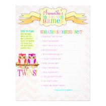 "Owl Twin Girls ""Baby Shower Games"" Activity Sheet"