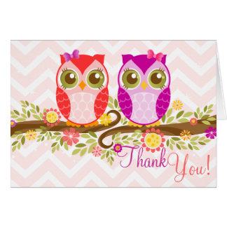 Owl Twin Girls - Custom Thank You Card