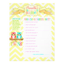 """Owl Twins """"Baby Shower Games"""" Activity Sheet"""