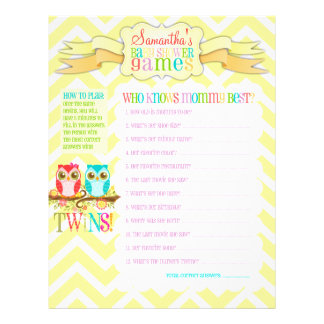 """Owl Twins """"Baby Shower Games"""" Activity Sheet Flyers"""