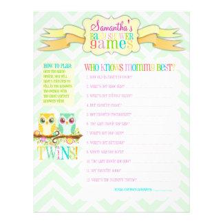 "Owl Twins ""Baby Shower Games"" Activity Sheet Flyer Design"