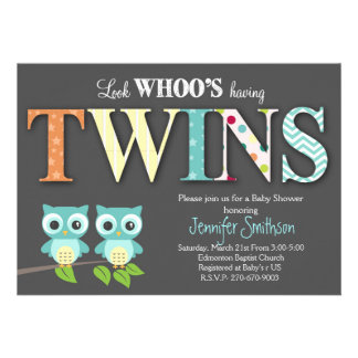 """Owl TWINS Baby Shower - Look Whoo's Having a Baby 5"""" X 7"""" Invitation Card"""