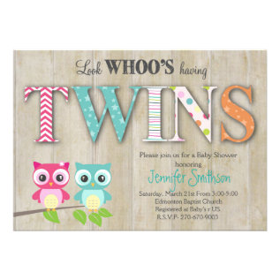 Owl Twins Baby Shower - Look Whoo's Having A Baby Card at Zazzle