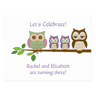 Owl Twins Birthday Party Invite Post Card