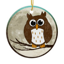 Owl (two sided) ceramic ornament