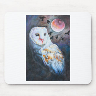 Owl Under Blood Moon Mouse Pad
