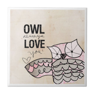 Owl Valentine | Owl Always Love You Small Square Tile