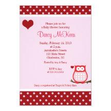 Owl Valentine's Day Heart Baby Shower Invitation