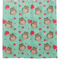 Owl Valentine's Day Shower Curtain