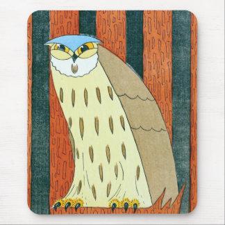 """Owl""  Vintage Illustration Mouse Pad"