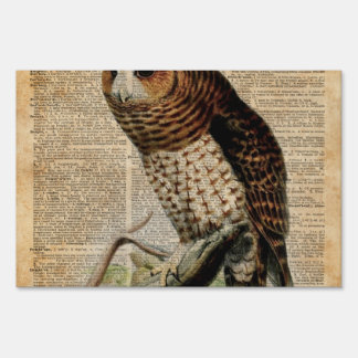 Owl Vintage Illustration Zoology Dictionary Art Lawn Sign