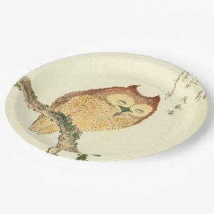 Owl | Vintage Japanese Fine Art Paper Plates & Japanese Plates | Zazzle