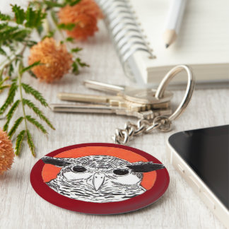 Owl Watch Over You Basic Round Button Keychain
