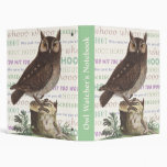 Owl Watcher's Vintage Notebook For Nature Lovers Binder